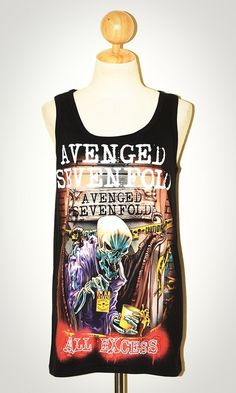 Avenged Sevenfold All Excess Black Singlet Tank Top by pleiadeshop, $16.99