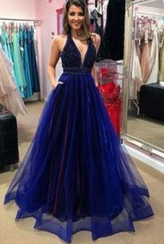 Sparkly Royal Blue Prom Dresses 2020 with Beading Pockets A-Line V-neck Tulle Long Prom Gown Backless Sexy Formal Evening Dress Royal Blue Prom Dresses, Blue Ball Gowns, Beautiful Prom Dresses, Blue Dresses, Princess Dresses, Elegant Dresses, A Line Evening Dress, Formal Evening Dresses, Evening Gowns