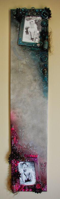 Mon Scrap'uleux Monde!: Canvas avec photos interchangeables, créé avec les encres IZINK, et les embellissement du SCRAP'uleux STOCK!!!!