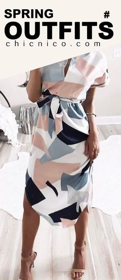 $26.99 2018 Spring Summer Fashion Chicnico Cute Strappy Geometric Multi Color Dress