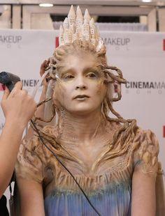 KC Mussman applying hair to the makeup. IMATS L.A 2013