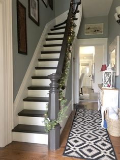 Century Old Farmhouse Christmas - Designs By Karan Old Home Renovation, Old Home Remodel, Farmhouse Renovation, Farmhouse Remodel, House Staircase, Staircase Design, Farmhouse Stairs, Painted Staircases, Staircase Makeover