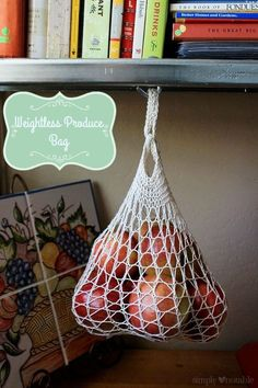 Free Knitting Pattern - Weightless Produce Bag from SimplyNotable.com