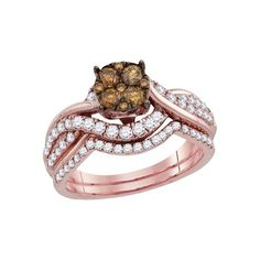 14kt Rose Gold Womens Round Brown Diamond Cluster Bridal Wedding Engagement Ring Band Set 1.00 Cttw #diamondweddingbands