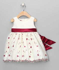 Take a look at this Ivory Floral Overlay Dress - Infant by Princess Faith on #zulily today!