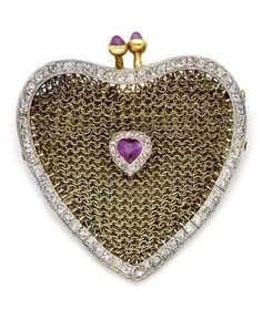 An early 20th century ruby and diamond purse brooch, by Hartog The heart-shaped mesh purse bordered by millegrain-set rose-cut diamonds, centrally decorated with a heart-shaped ruby within a similarly-cut diamond border, to a clasp of sugarloaf rubies, signed Hartog Paris, numbered, French import mark, later brooch fitting, length 4.6cm