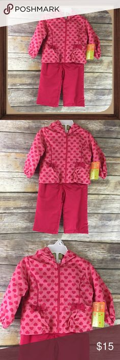 Penelope Mack Baby Girl Pink Hearts Pink hearts girls rain suit. Both are fleece lined. Size 12 Months. Comes with jacket and pants. Penelope Mack Matching Sets