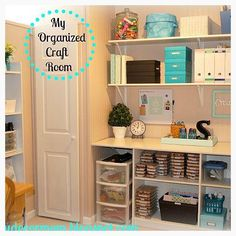 Organized craft room. Inexpensive photo boxes and magazine holders keep everything neat and tidy.