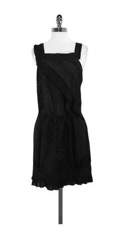 BCBG Runway Black Cotton Sleeveless Dress