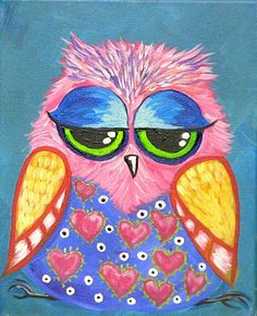 The first painting lesson online! My first little owl Littlest hoot owl hart party painting lesson. Still love the youtube video. Love seeing what everyone paints
