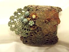 Patinaed paper and lace bracelet adjustable by TANGORADESIGNS, $80.00