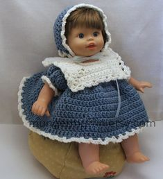 Crocheted dusty blue dress fits 14 to 16 dolls by mungermuffin, $18.00