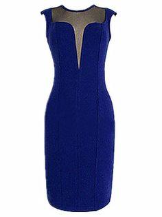 MS Azul Profundo V vestido simple