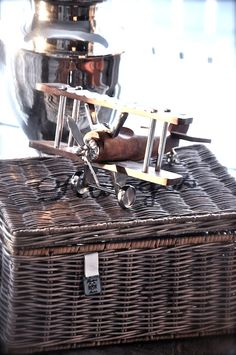 Wicker suitcase. Rustic Chic, Rustic Wood, Wicker Picnic Basket, Color Scale, Living Styles, Grey Wood, Restoration Hardware, Vintage Leather, Vignettes