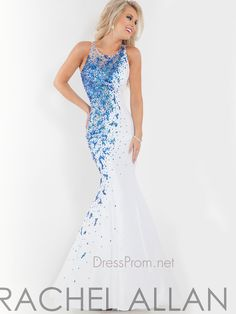 This dazzling Rachel Allan prom dress will make you sparkle all night long. The Rachel Allan prom dress 6868 has a bateau neckline, white lining bodice, and shimmering contrasting beading on one side of this gorgeous mermaid gown. The sheer and beaded back adds elegance to this Rachel Allan prom dress. Features: Silhouette: Bateau Neckline Neckline: Mermaid Fabric: Taffeta Available in sizes 0 through 16 Colors include white/royal, white/red