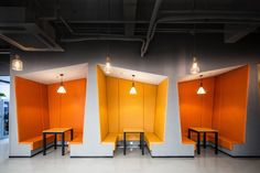 Gallery of Shanghai Sunrise Polymer Material Office / CCDI GW Design - 9 Shanghai Sunrise Polymer Material Office,© Lu Fei Cool Office Space, Office Space Design, Workspace Design, Office Interior Design, Office Designs, Booth Seating, Office Seating, Restaurant Interior Design, Cafe Interior