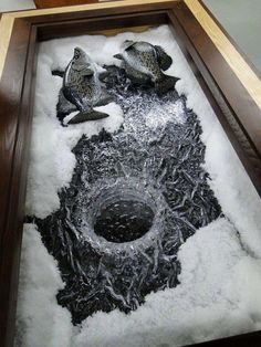 Done as a glass coffee table.. Would be too cool.. Ice Fishing Crappie Mount