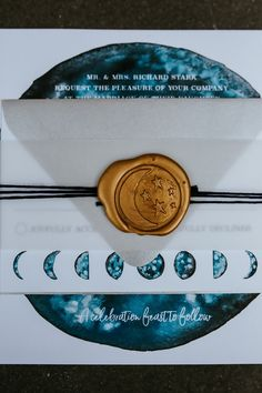 Game of Thrones Inspired My Moon & Stars Celestial Wedding Invitation Suite with galaxy watercolor, moon phases, and gold wax seal