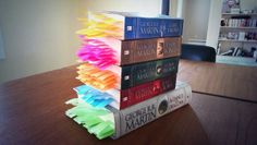 George R.R. Martin shows no mercy. Every death in the series is tabbed.