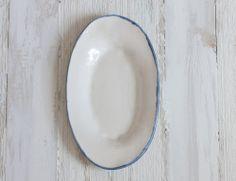 Burlap Platter with Cobalt Rim – Suite One Studio