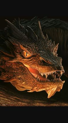 Smaug Source by Hobbit Dragon, Smaug Dragon, O Hobbit, Dragon Eye, High Fantasy, Fantasy Art, Smaug Tattoo, Queen Of Dragons, Beautiful Dark Art