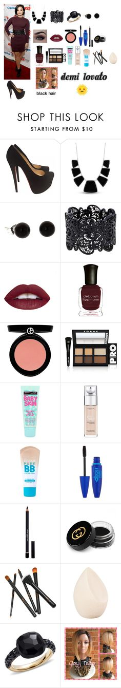 """""""demi lovato look"""" by sarah4ever123 ❤ liked on Polyvore featuring Christian Louboutin, Karen Kane, Deborah Lippmann, Armani Beauty, LORAC, Maybelline, L'Oréal Paris, Givenchy, Gucci and Christian Dior"""