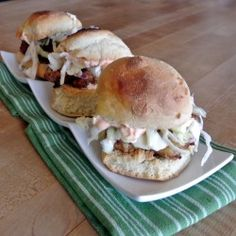 Fried Chicken Sliders with Slaw - Perfect for your next tailgate party or get together.