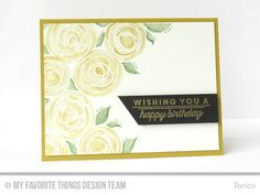 STAMPARADISE: white embossed the scribble circles, which are fromCircle Scribble Flowers stamp set, and watercolored them with Gold. Some leaves were painted with Emerald. Kuretake Jewel Box shimmer watercolors