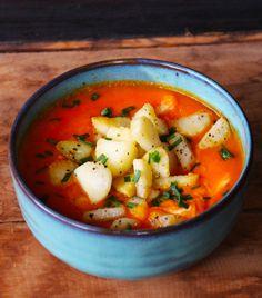 Receta Vegana de Sopa de Zanahoria y Jengibre con Papas Salteadas   CherryTomate