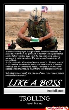 Trolling - Other - Boring Pics + Epic Captions = Taste of Awesome | See more about marines, like a boss and revenge.