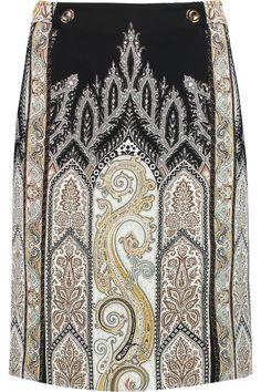 ETRO Paisley-Print Stretch-Crepe Skirt. #etro #cloth #skirt