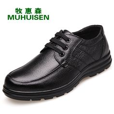 31.14$  Watch here - Genuine Leather Men Casual Shoes Lace Up Flat Oxfords Moccasines Black Brown Color Father Shoes Flats Zapatos Hombre XK052406  #buyininternet