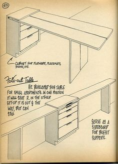 Great idea for a fold out Table, and you could STILL have Other storage along the wall set below the moveable shelf level - -Another great idea for a craft room, storage & table in a small area Smart Furniture, Space Saving Furniture, Furniture For Small Spaces, Dining Furniture, Home Furniture, Furniture Design, Furniture Makeover, Office Furniture, Nomadic Furniture