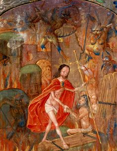 Harrowing of hell Christ leads Adam by the hand. On scroll in border, the motto 'Entre tenir Dieu le viuelle' (f. Cropped - Harrowing of Hell - Wikipedia, the free encyclopedia Horror, Dreams And Visions, Heaven And Hell, Outside World, Pre Raphaelite, Christian Art, Illuminated Manuscript, Anthropology, Anthropologie