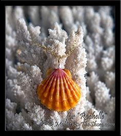 "Custom for ""Rochelle"" in Los Angeles, California, a beautiful deep pink and orange Sunrise Shell with Pearl pendant, in gold. Wear with Aloha Rochelle!  www.MonicaByTheShore.com"