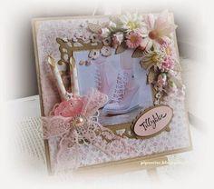 pipserier: Og så et tøsekort. Creative Inspiration, Paper Crafts, Canvases, Frame, Cards, Beautiful, Design, Flowers, Picture Frame