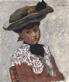 pierre bonnard(1867-1947), portrait de jeune femme, or le chapeau, c. 1905. oil on canvas laid down on board, 48.4 x 41.3 cm. private collection http://www.christies.com/lotfinder/paintings/pierre-bonnard-portrait-de-jeune-femme-or-5030469-details.aspx | http://www.sothebys.com/en/auctions/ecatalogue/2015/modern-contemporary-art-collection-a-alfred-taubman-n09431/lot.207.html