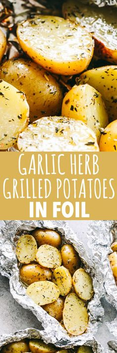 Garlic Herb Grilled Potatoes in Foil – A good dose of garlic, thyme, and rosemary make these potatoes that much more delicious, and the grill gives them just the right amount of crispness and a delicious smoky flavor. #potatoes #foildinners #grilling #campfood #barbecue