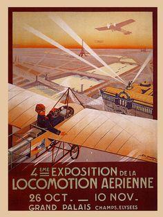 Paris View Airplane Plane Exposition Grand Palais Vintage Poster Repro Free s H | eBay