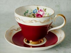 Gold Gilt and Cherry Red Tea Cup and Saucer Set - Teacups and Saucers - Red Cup and Saucer Set. $39.00, via Etsy.