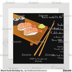 Black Sushi Birthday Invitation Japanese Birthday, 2nd Birthday Invitations, Sushi Recipes, Envelope Sizes, Egg Shells, White Envelopes, Smudging, Paper Texture, Party Supplies