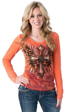Rock & Roll Cowgirl® Women's Orange with Embellished Winged Cross Heathered Jersey Long Sleeve Tee