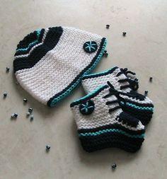 Örgü bebek patiği ve şapkası