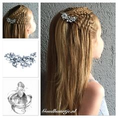 Woven half up with a four strand, twist and french braid. With beautiful hairclip from Goudhaartje.nl