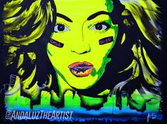 Beyonce Portrait customized with the skyline below her. In a beautiful cool toned scheme. Done by Andaluz the artist.  #beyonce #thequeen  #cooltones #skyline #green #blue #andaluztheartist #portrait #amazing #creative #art #detailed