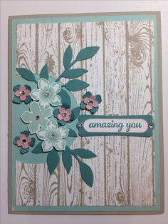 Stampin up! Petite Petals with Hardwood Background stamp.