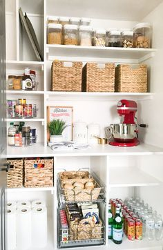 How to make the most of your small storage cabinet organized small pantry closet with custom shelving - Own Kitchen Pantry Small Pantry Closet, Pantry Closet Organization, Tiny Pantry, Pantry Room, Organized Pantry, Ikea Pantry, Pantry Diy, Clothing Organization, Bedroom Organization