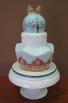 Winter Blue Brown White Multi-shape Round Wedding Cake