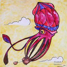 Squid Hot Air Balloon Art Print by ElizabethJJancewicz on Etsy