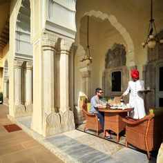 Dan......Breakfast at the Rambagh Palace, Jaipur in Rajasthan (India). This is the former residence of the Maharaja of Jaipur and now a luxury hotel run by Taj Hotels. We loved our stay here!